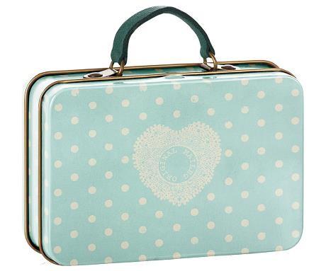 Maileg Mini-Koffer Herz aus Metall in hellblau
