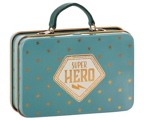 Maileg Mini-Koffer Superhero aus Metall in blau