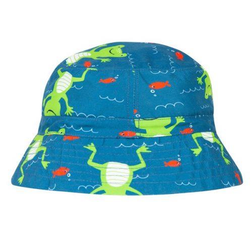 Frugi Badehut Frosch in blau LSF 50+ - schützt vor UV-Strahlung
