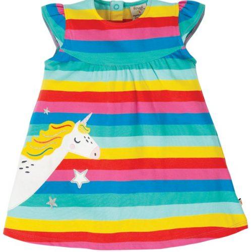 Frugi Kleid Rainbow mit Einhorn-Applikation