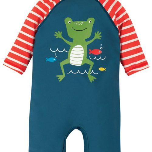 Frugi Schwimmanzug Frosch in blau LSF 50+ - schützt Dein Kind vor UV-Strahlung
