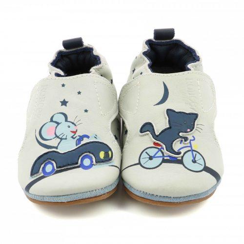 Robeez Krabbelschuhe Katz und Maus in grau für Baby und Kleinkind