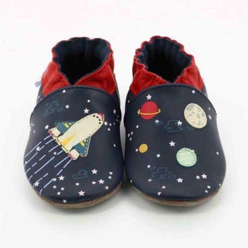 Robeez Krabbelschuhe Speed Spaceship in blau für Baby und Kleinkind