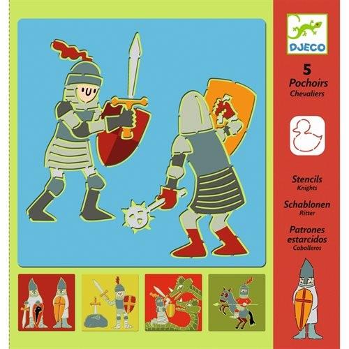 Djeco: Schablonen Ritter - 5 Schablonen aus Kunststoff im Set