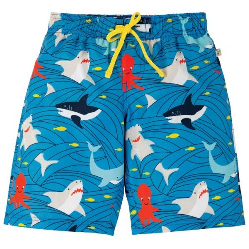 Frugi Badeshorts Haie in blau-rot - Go With The Flow