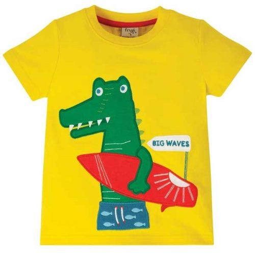 Frugi Kurzarm-Shirt Krokodil in gelb aus 100% Bio Baumwolle