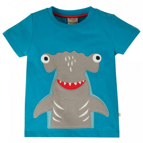 Frugi Kurzarm-Shirt Hai in blau aus 100% Bio Baumwolle