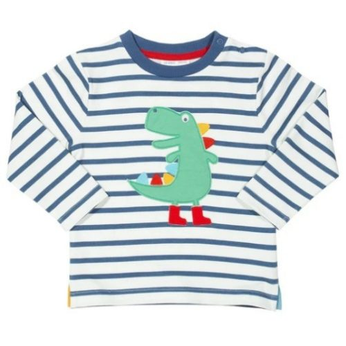 Kite Langarm-Shirt Dinosaurier in weiss-blau gestreift