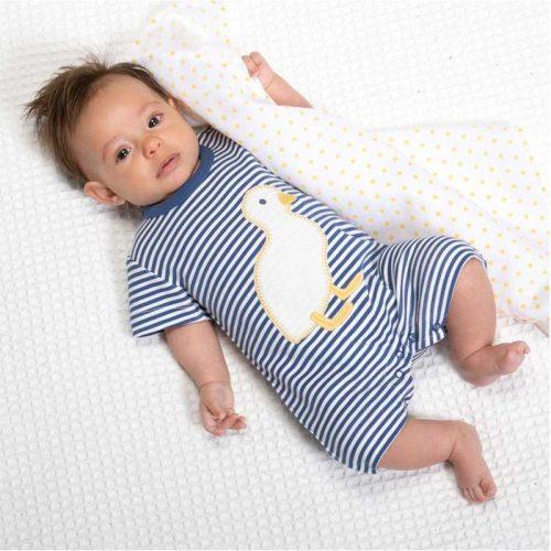 Kite Spielanzug Ente in blau-weiss gestreift