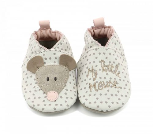 Robeez Krabbelschuhe Little Mouse weiss für Baby und Kleinkind