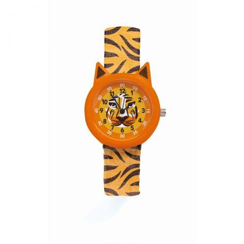Djeco Armbanduhr Tiger mit Stunden- und Minutenanzeige