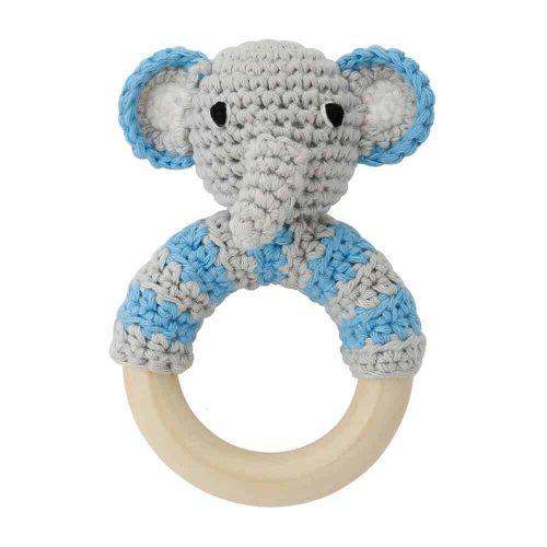 Ringrassel Elefant in blau - perfekt als Greifling und Zahnungshilfe
