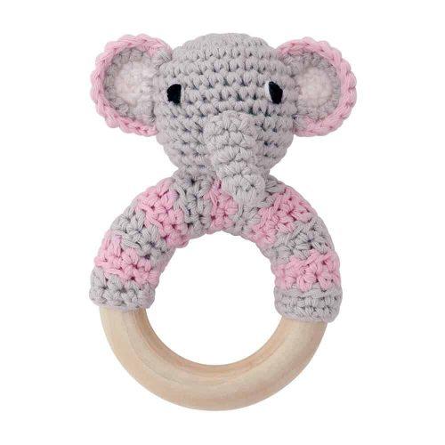 Ringrassel Elefant in rosa - perfekt als Greifling und Zahnungshilfe