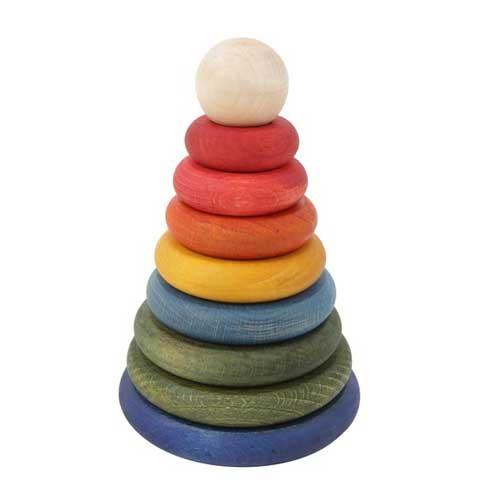 Wooden Story Steckspiel Regenbogen Pyramide rund
