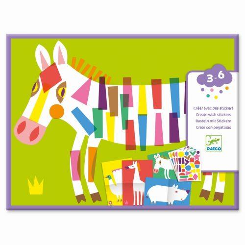 Djeco Grosse Tiere - Streifen stickern für Kinder ab 3 Jahre