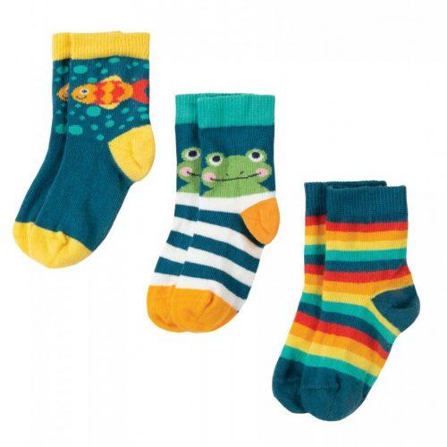 Frugi 3 Paar Socken Frosch