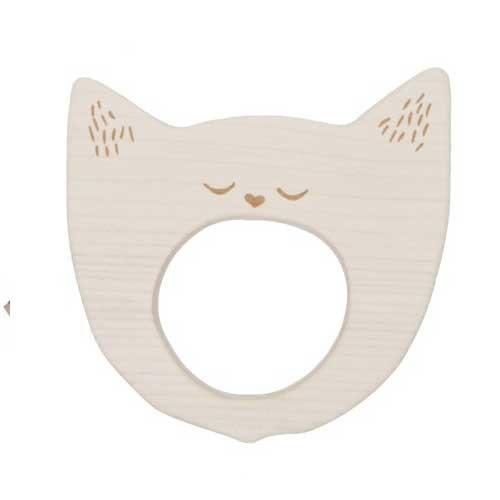 Beißring Gähnende Katze von Wooden Story aus Ahornholz