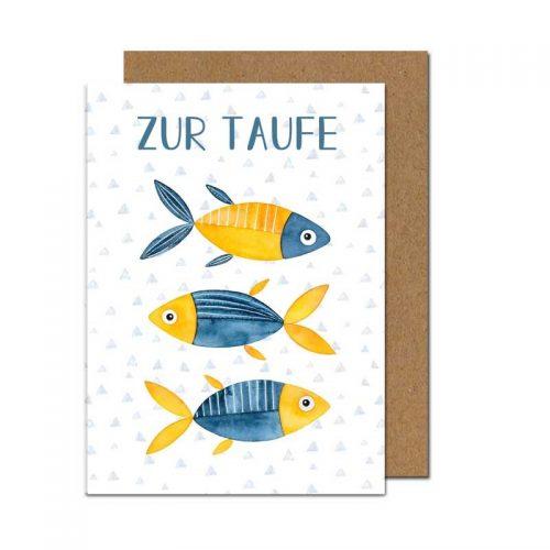 Taufkarte Fische in blau-gelb - Klappkarte auf Umweltpapier gedruckt