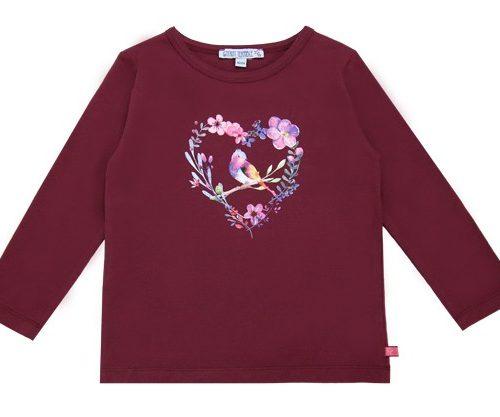 Enfant Terrible Langarm-Shirt mit Herzdruck in bordeaux