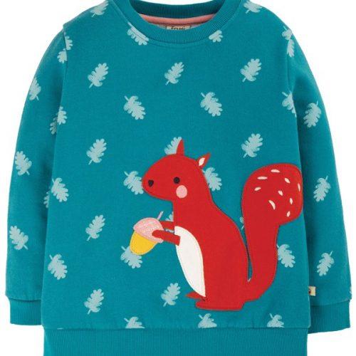 Frugi Sweatshirt mit Eichhörnchen-Applikation in petrol