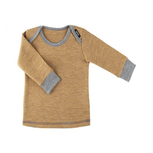 Langarm-Shirt in grau-bernstein aus Wolle/Seide von pure-pure by Bauer