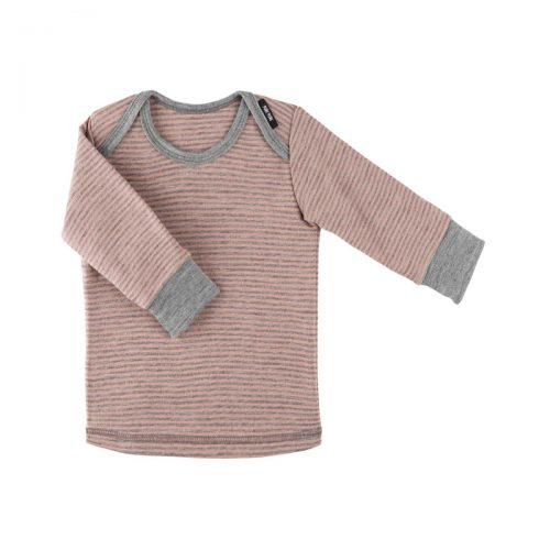 Langarm-Shirt in grau-rose aus Wolle/Seide von pure-pure by Bauer
