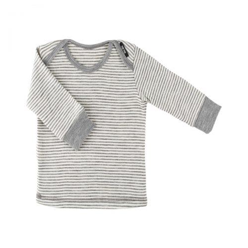 Langarm-Shirt in grau-meliert-weiss aus Wolle/Seide von pure-pure by Bauer