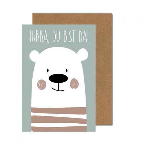 Grusskarte zur Geburt Bär in blau