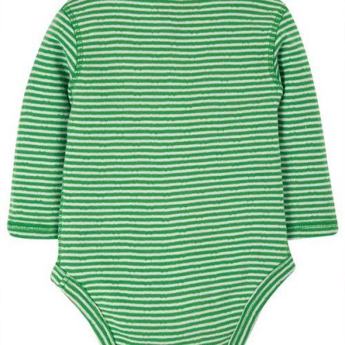 Frugi Pointelle Langarm-Body-Set in rosa-grün-weiss geringelt