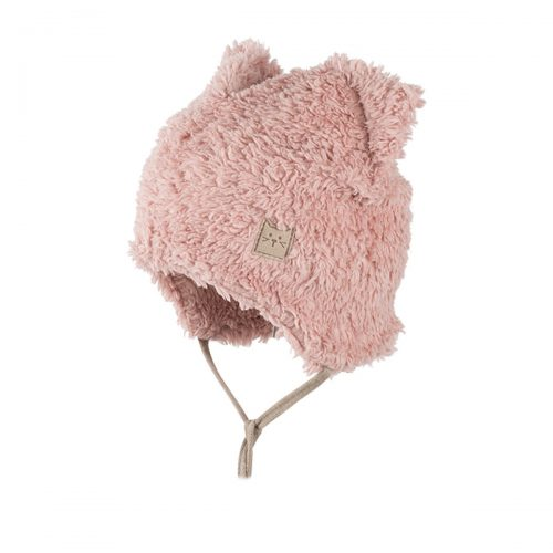 pure-pure by Bauer Mütze aus Bio-Baumwoll-Plüsch in blush-pink