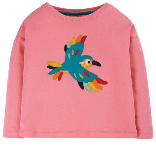 Frugi Langarm-Shirt Vogel in rosa