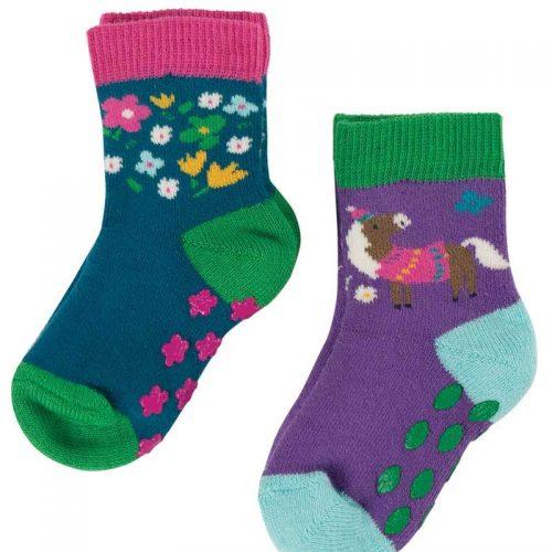 Frugi 2 Paar Stopper-Socken Pferd aus Bio-Baumwolle