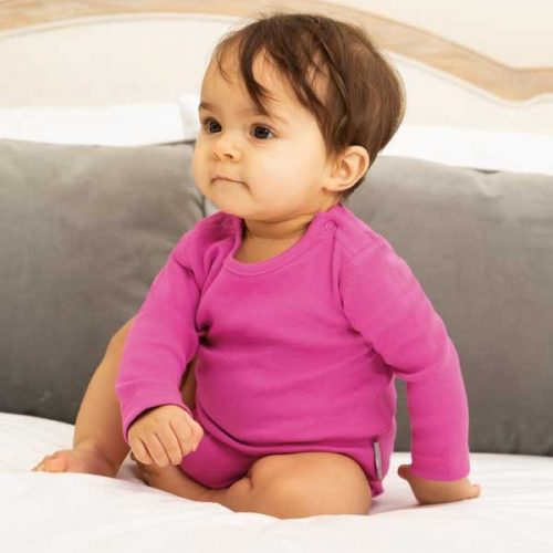 Frugi Langarm-Body Everyday uni pink aus 100% Biobaumwolle