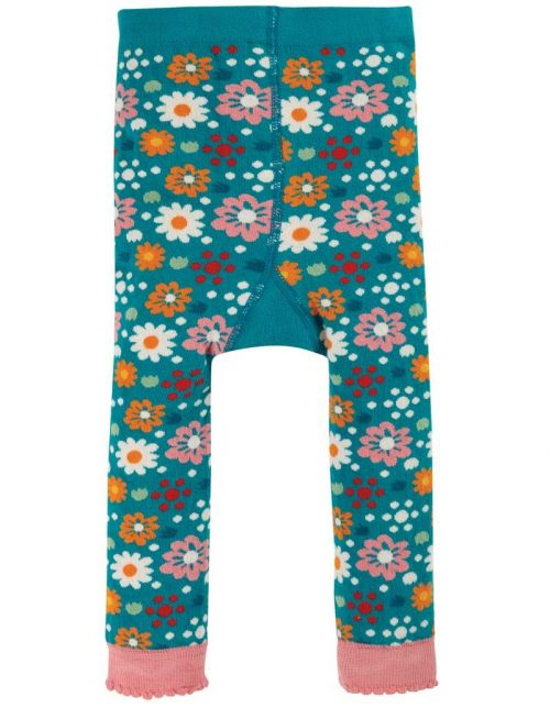 Frugi Leggings Blumen in blau aus 100% Bio Baumwolle