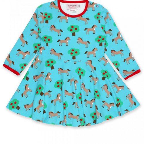 Toby Tiger Kleid Pferde in blau - perfekt für die kühleren Tage
