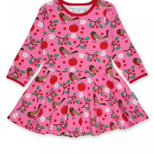 Toby Tiger Kleid Vögel in pink - perfekt für die kühleren Tage