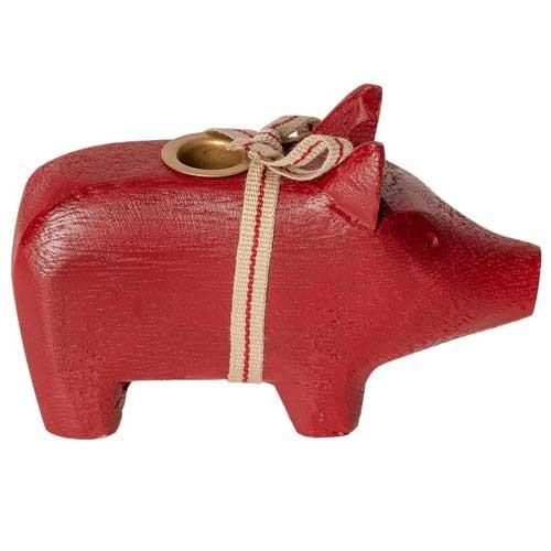 Maileg Kerzenhalter Holz-Schwein klein in rot - nicht nur an Weihnachten