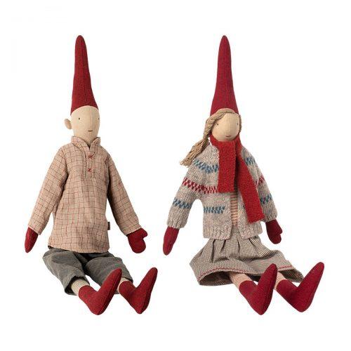 Maileg Wichtel-Paar Maxi Pixy mit Zipfelmütze 62 cm