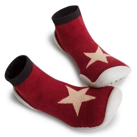 Collegien Hausschuhe Winter Star in rot - Lurex -bequem + atmungsaktiv