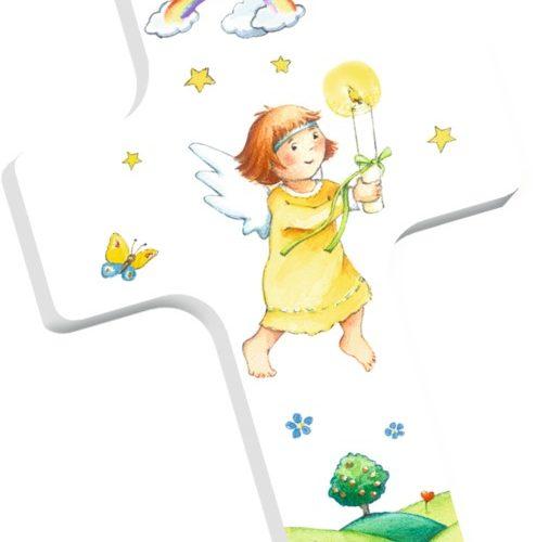 Holzkreuz mit Pappbilderbuch: Gott ist immer bei mir