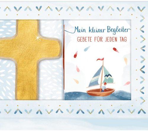 Geschenkbox Mein kleiner Begleiter (Holzkreuz gold+Buch)