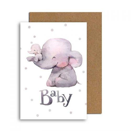Grusskarte zur Geburt Elefant Mama & Baby mit Umschlag