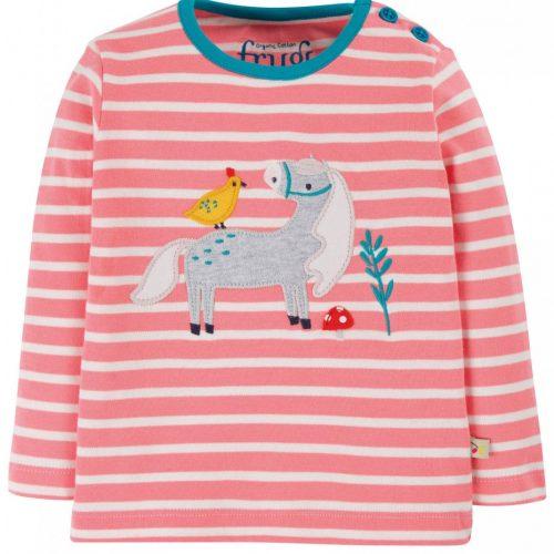 Frugi Langarm-Shirt Pferd in pink gestreift - Fair und nachhaltig produziert