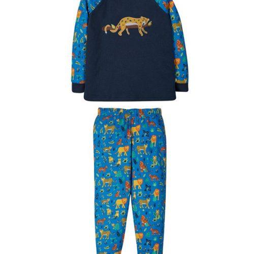 Frugi Schlafanzug Leopard in blau aus Bio-Baumwolle
