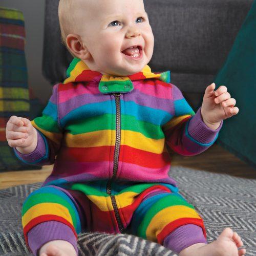 Frugi Jumpsuit Regenbogen aus 100% Bio-Baumwolle kuschelweich