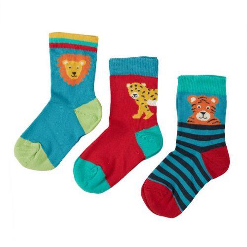 Frugi 3 Paar Socken Big Cats (Grosskatzen wie Löwe, Tiger und Leopard)