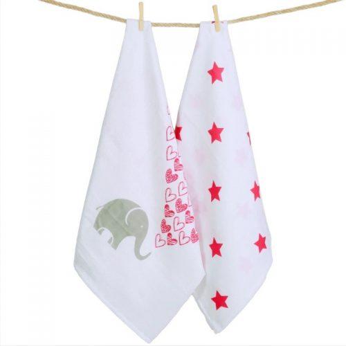 Quschel Mulltuch-2er-Set Elefanten-Herzen-Sterne in pink-grau-weiss