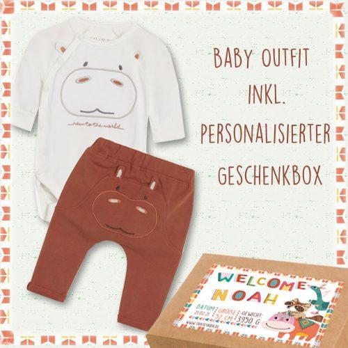 Baby-Geschenkset Little Hippo personalisiert inkl. Geschenkbox