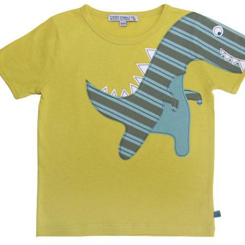 EnfantTerrible Kurzarm-Shirt Dino limone aus 100% Bio Baumwolle