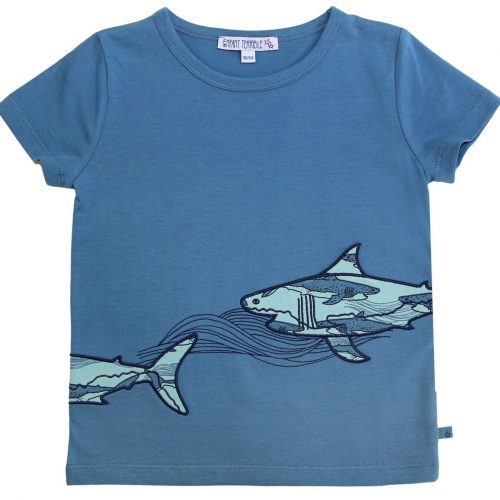 EnfantTerrible Kurzarm-Shirt Haie petrol aus 100% Bio Baumwolle
